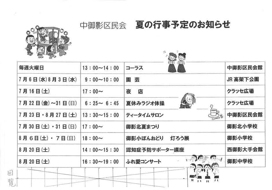 【2016年度】中御影区民会 夏の行事予定